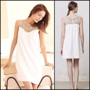 Anthro Maeve Embellished Lace White Swing Dress